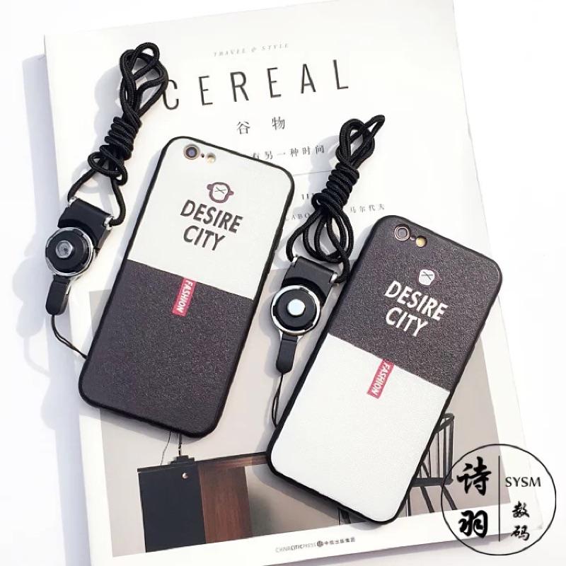 黑白蘋果6s 手機殼iPhone6plus 全包軟殼掛繩情侶防摔潮殼iphone7 iph