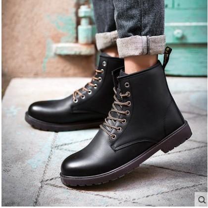 男靴英倫高幫馬丁靴2016 男士工裝靴圓頭復古真皮擦色大頭皮靴