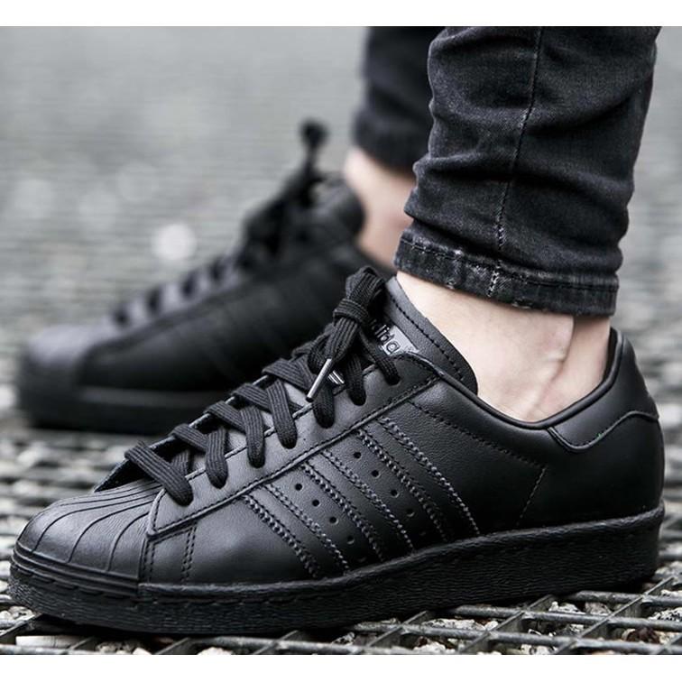 愛迪達金標全黑全白ADIDAS ORIGINALS SUPERSTAR 雷射滑板鞋男女鞋休