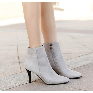 203 019 尖頭高跟馬丁靴短靴細跟短靴裸靴短筒靴灰色35