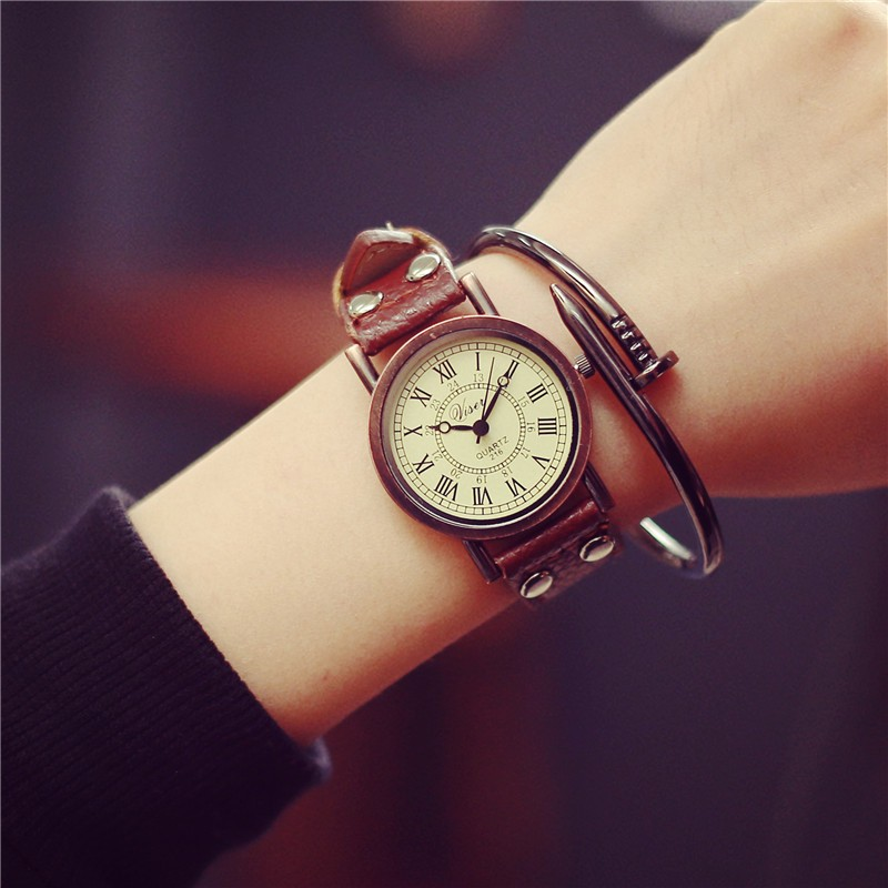 潮流風景線๑大賣場๑ 潮流 簡約羅馬刻度學生石英手表 英倫復古男女皮帶腕表