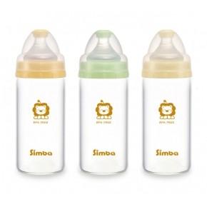 simba 小獅王辛巴超輕鑽寬口直圓玻璃奶瓶180ml S6909