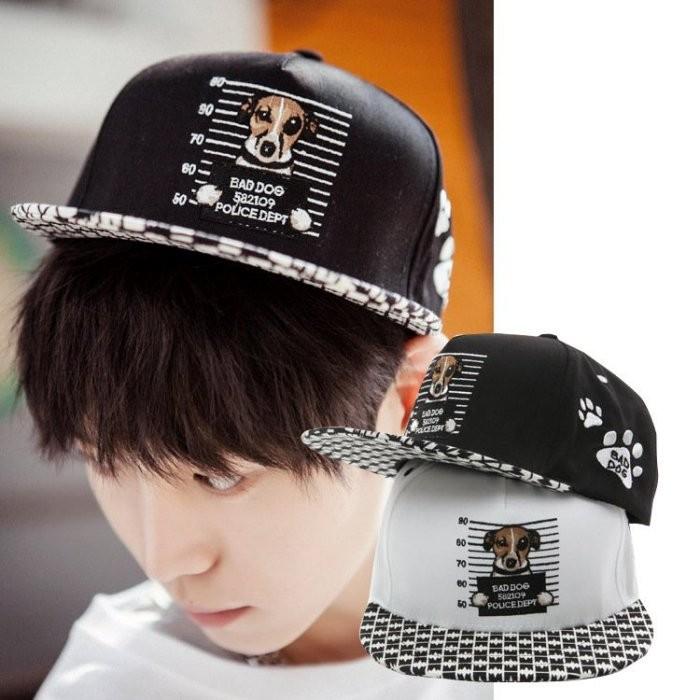 韓國春夏 帽子可愛卡通小狗平沿棒球帽男士嘻哈帽女潮帽情侶狗狗街舞帽K387