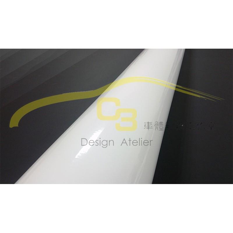 ~C3 車體彩繪工作室~車身亮面烤漆膜白色汽車改色膜全車亮面烤漆膜素面膜車身保護膜導氣孔貼