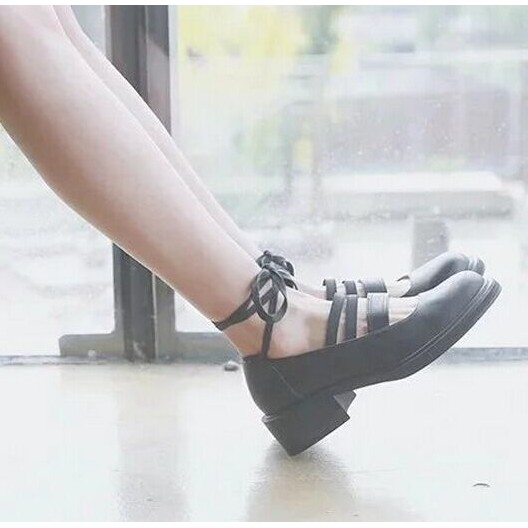 早春原宿森女圓頭粗跟小皮鞋lolita 洛麗塔高跟鞋腳踝綁帶單鞋女鞋