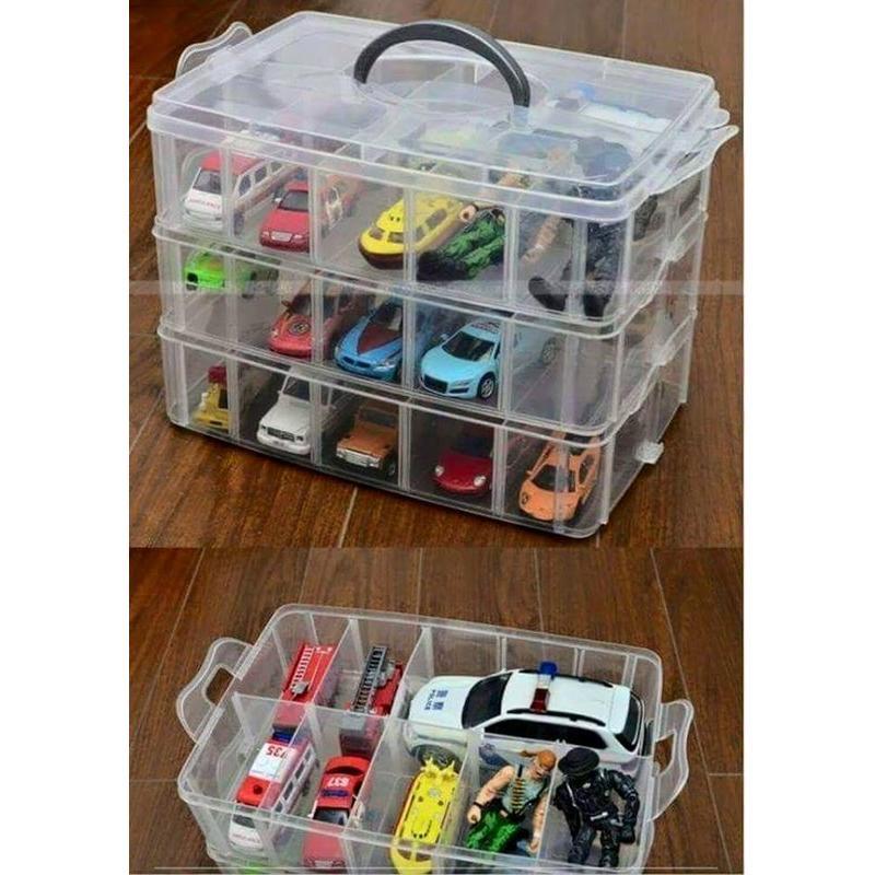 ~出貨每個檢查~大號透明色 處大三層收納盒30 格3 層30 格收納盒彩色橡皮筋可拆式手提