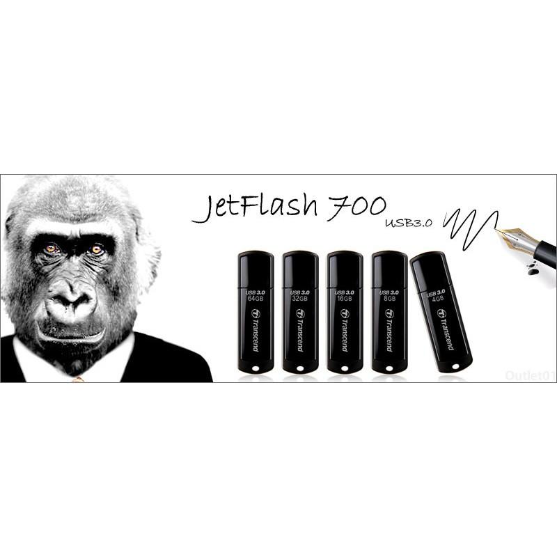 送創見 吊繩創見JetFlash 700 黑色隨身碟8G 16G 32G 64G 128G