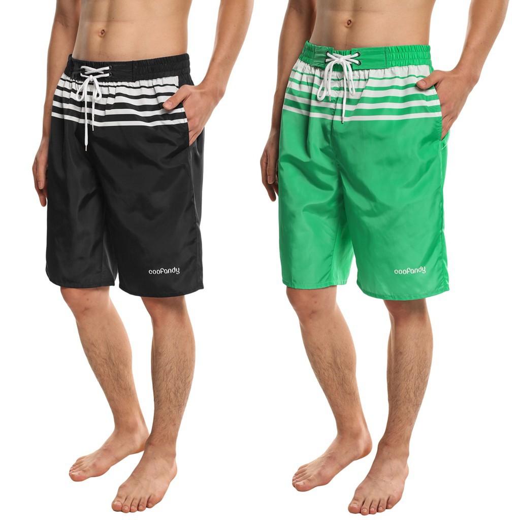 男子腰部鬆緊抽繩條紋字母圖案體育局海灘休閒短褲