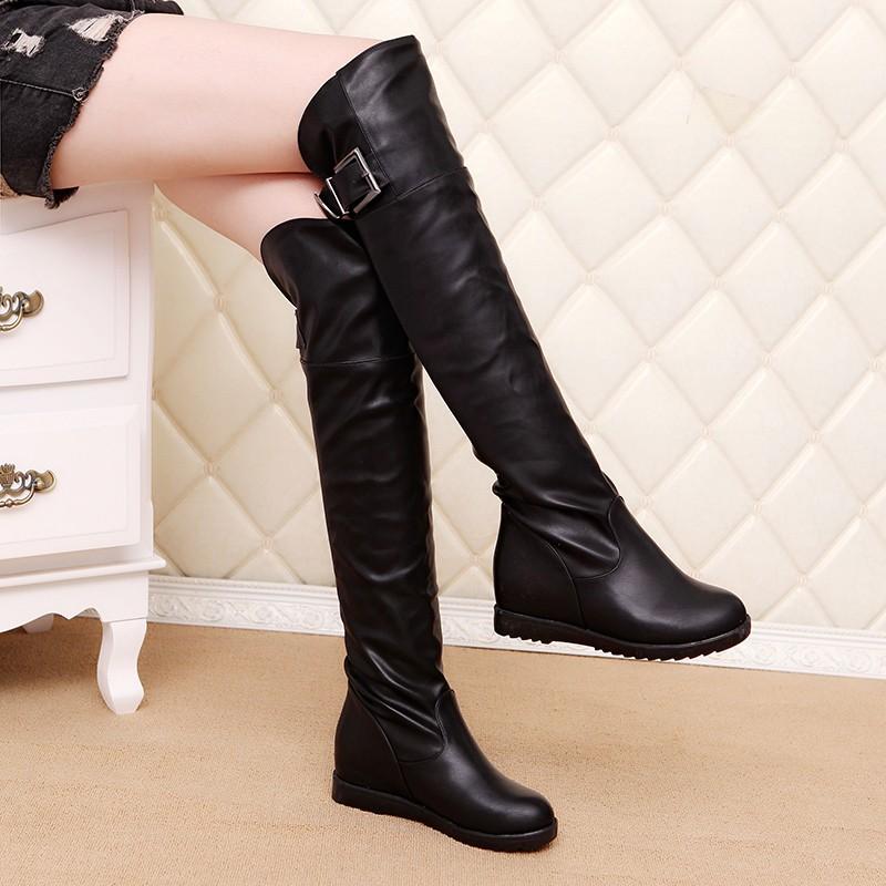 ~日韓の鋪~ 長筒靴女過膝靴彈力高筒長靴尖頭騎士靴瘦腿靴高跟靴子女