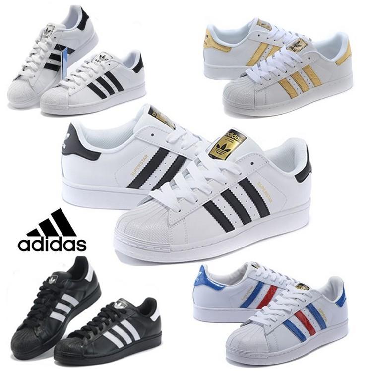 正品 Adidas Originals superstar 三葉草貝殼頭板鞋男鞋金標 款白