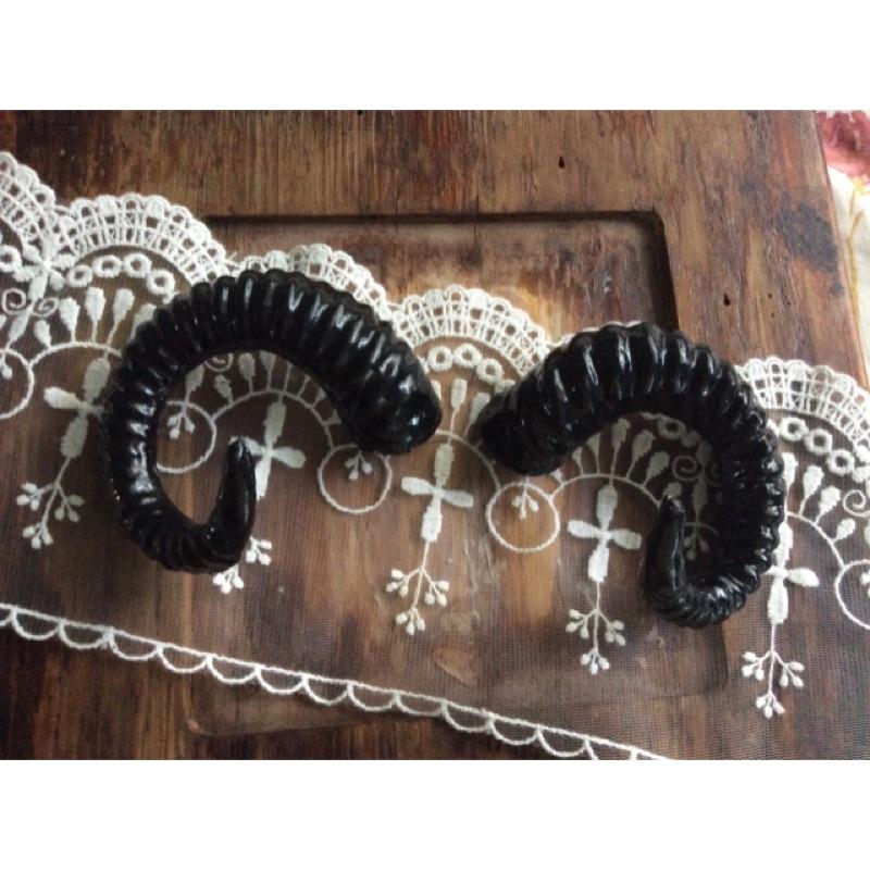 仿真小羊角頭飾材料9cm1 對(lolita