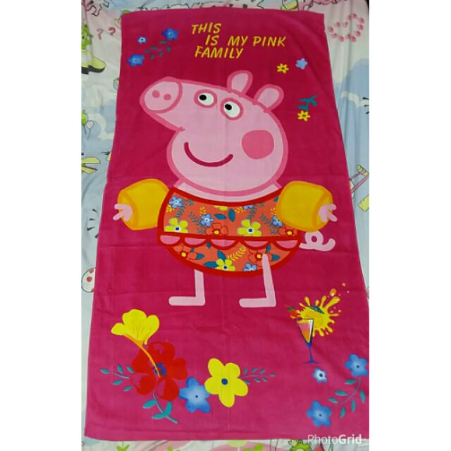 佩佩豬peppa pig 粉紅豬小妹兒童大浴巾毛巾 上架,二款
