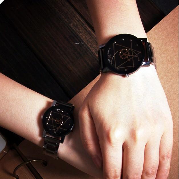 爆款正品 鋼帶情侶手錶羅盤轉盤指針男女錶英倫 時裝表