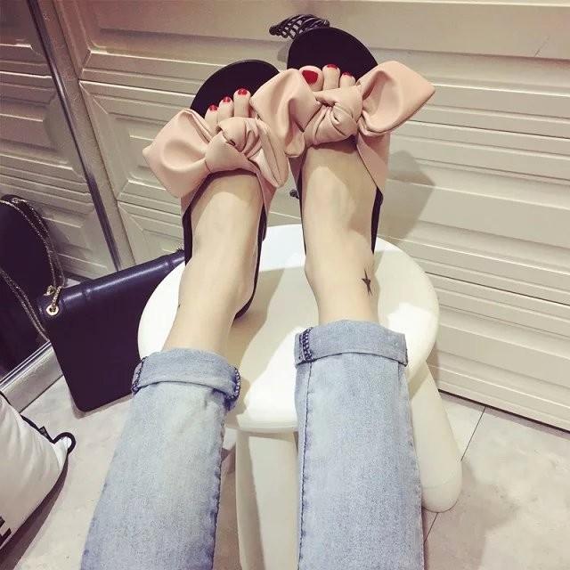 2016  甜美蝴蝶結一字拖女 涼拖鞋低跟平底女鞋羅馬鞋女鞋女士拖鞋拖鞋厚底拖鞋百搭拖鞋休