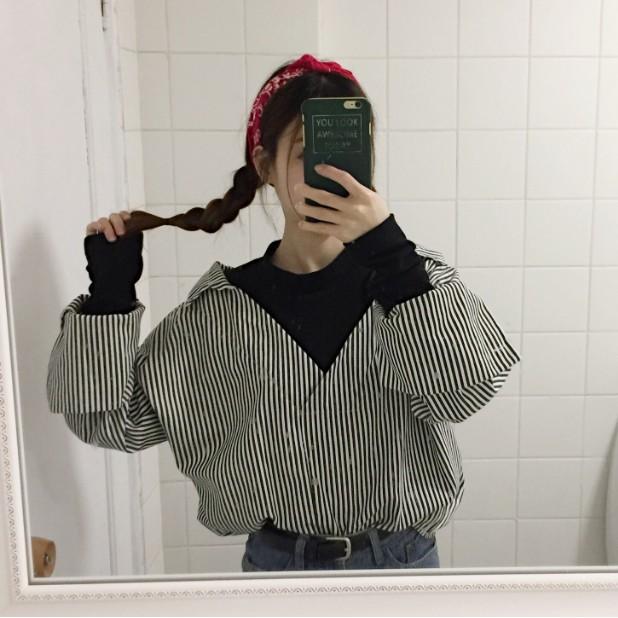 2017 春裝 寬鬆拼色假兩件襯衣學生長袖條紋襯衫女