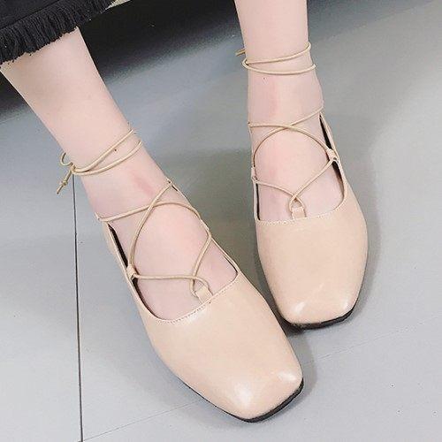 高跟鞋. 方頭性感交叉綁帶羅馬高跟包鞋.白鳥麗子