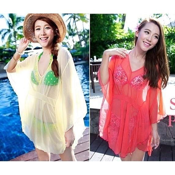 罩衫B1362 螢光色百搭嬌媚披紗罩衫沙灘冷氣室內 多色 比基尼性感泳衣,直 399 元,