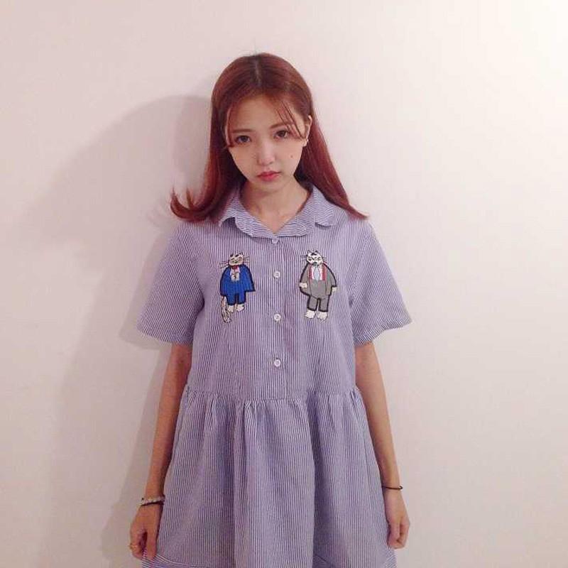 原宿女咖衣櫃夏裝女裝日系軟妹可愛貓咪刺繡POLO 領條紋連衣裙高腰學生中裙子