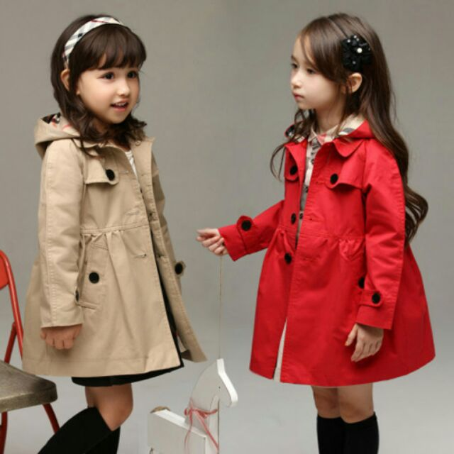 140cm  英倫女童風衣外套紅色卡其色