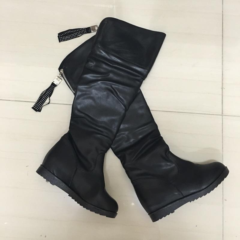 902 030 百搭流蘇長靴高筒靴過膝靴平跟馬丁靴黑色38