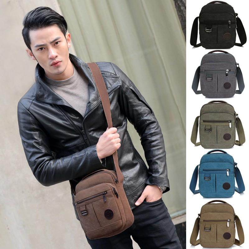 Baggra 男包 帆布單肩包多拉鏈袋可調節肩帶便攜小包旅行斜挎包 小挎包