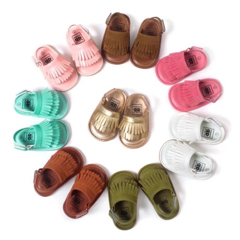 嬰兒寶寶可愛 涼鞋流蘇軟底膠底鞋
