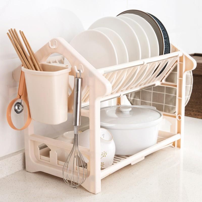 ❤~❤雙層瀝水架廚房餐具收納架碗碟架多層落地置物架碗架儲物架