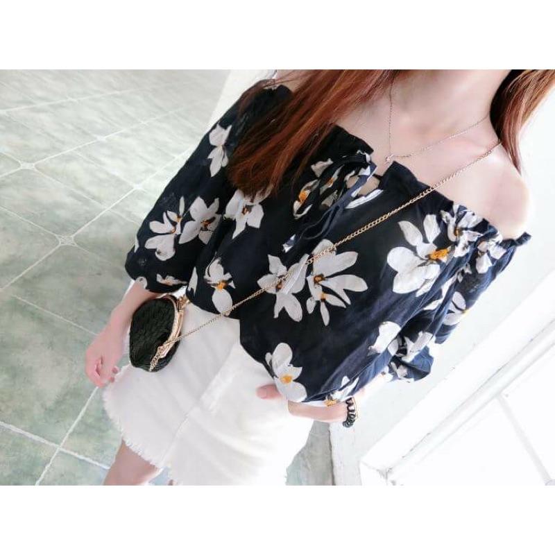 夏裝韓國寬鬆一字領印花短袖T 恤百搭顯瘦棉麻系帶露肩上衣