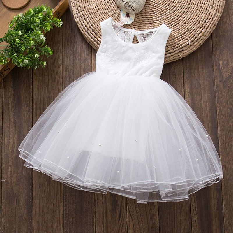 韓款白紗珍珠蓬蓬裙小禮服洋裝五層裙115cm 花童禮服白色禮服花童婚禮鋼琴小提琴音樂發表服