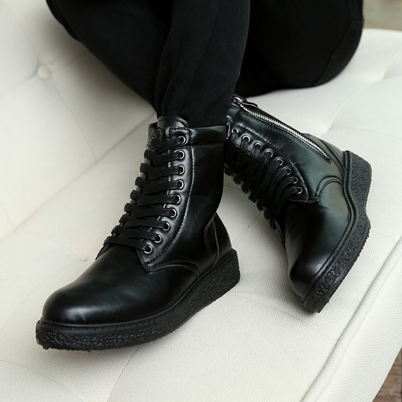 潮男軍靴男士 英倫高幫潮流馬丁靴加絨工裝靴皮靴雪地男靴短靴