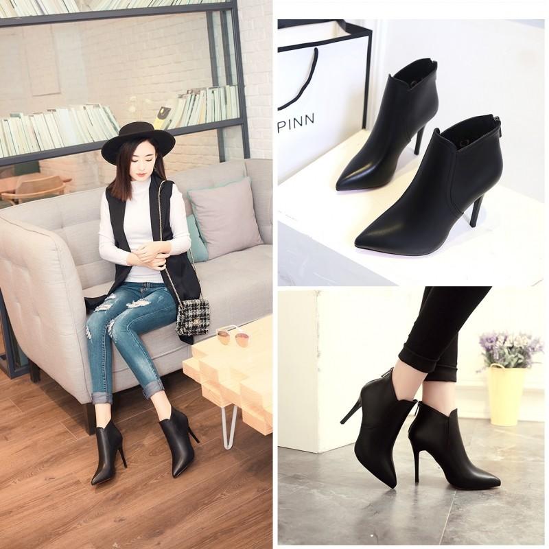 ~本小姐任性~  高跟短靴女細跟尖頭黑色短筒靴及踝靴性感百搭女鞋潮