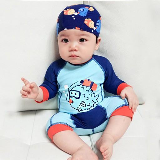 兒童泳衣男童連體防曬男孩寶寶嬰兒速乾衝浪游泳衣保暖溫泉泳裝