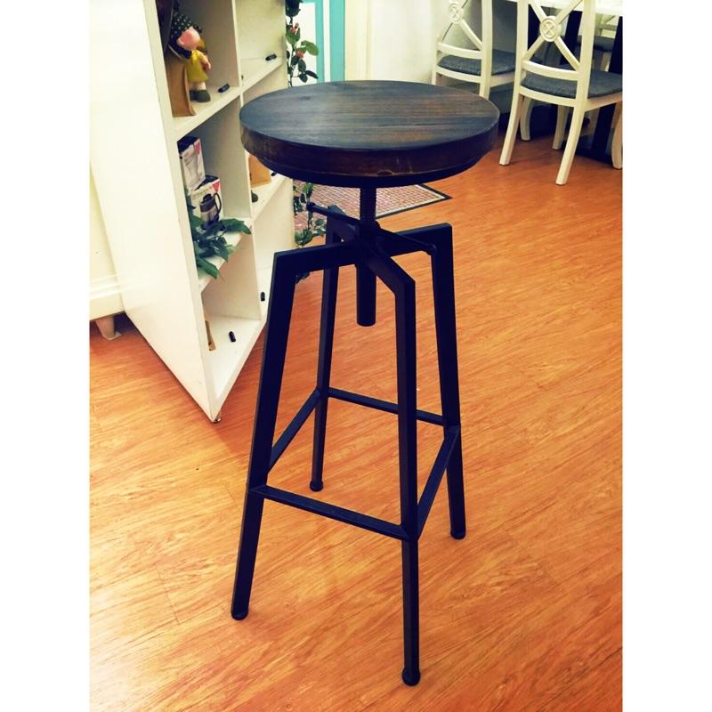 原木工業風 高腳吧檯椅