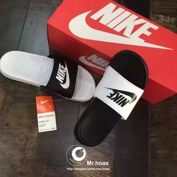 Nike Sportwear benassi 黑白鴛鴦配色拖鞋