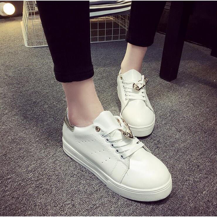 2016 春 繫帶小白鞋拼色平底圓頭 單鞋女鞋A012