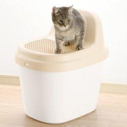 展示品只限宅配出貨 Richell Corole 不沾砂貓便盆米白色貓砂盆貓廁所米白紫色