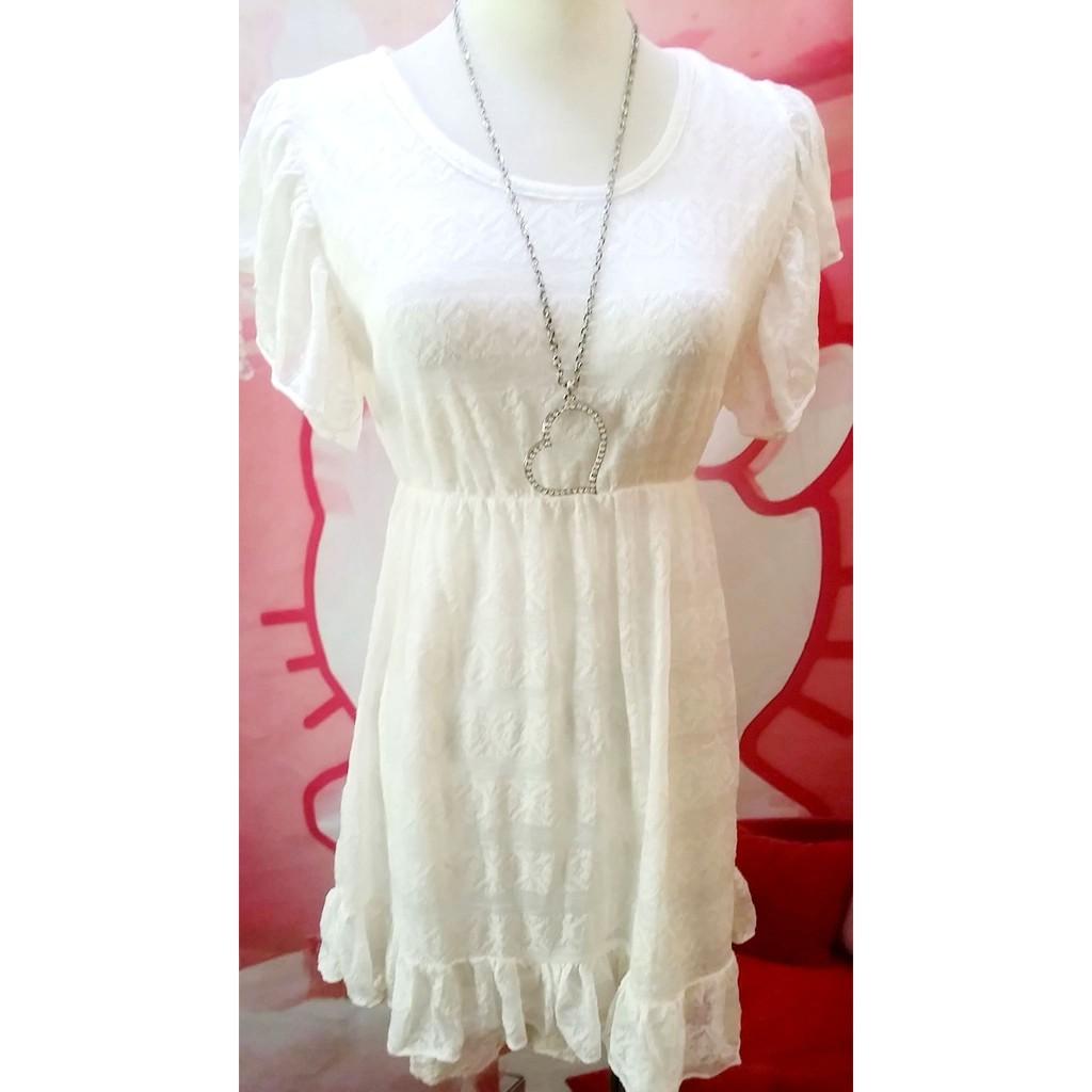 白色荷葉袖口條紋幾何圖形印花蕾絲緹花裙擺洋裝連身裙甜美百搭縮腰顯廋清新