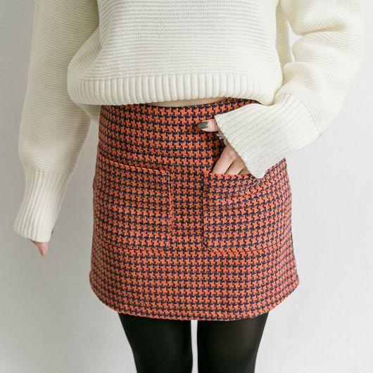 東京著衣千鳥格紋雙口袋毛料短裙S M L 4030245