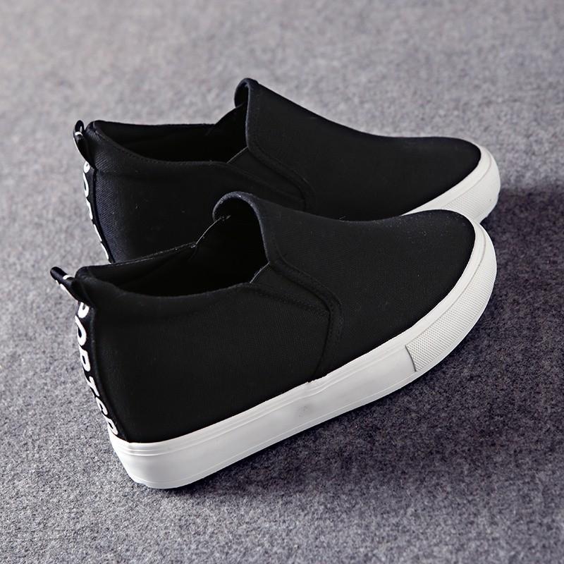 環球黑白色帆布鞋女一腳蹬懶人鞋厚底內增高樂福鞋松糕 小白鞋