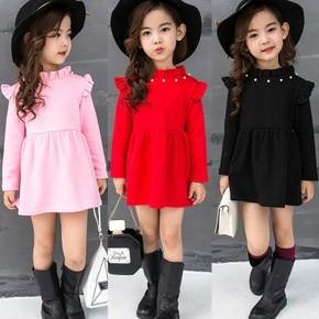 加絨加厚打底裙兒童公主裙長袖童裙女童 裝寶寶純棉連衣裙