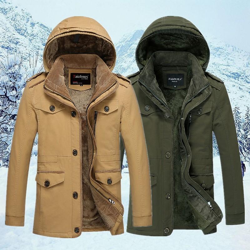 男士中長款風衣純棉休閒加絨加厚大碼外套青年男裝 潮上衣男裝上衣外套保暖外套型男  冬外套