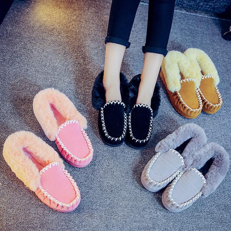 秋 加絨豆豆鞋女短靴翻毛小黑鞋學生保暖棉鞋雪地靴女鞋棉靴子