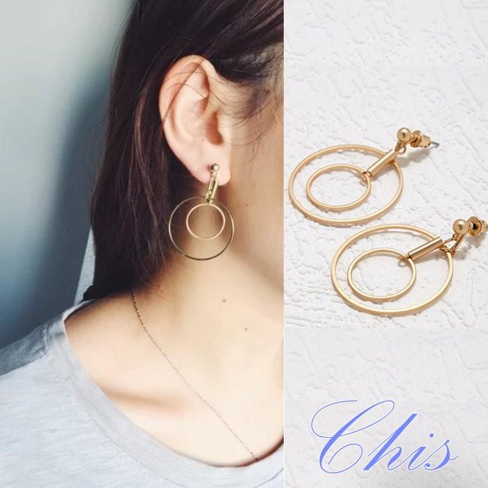 Chis Store ~雙層同心圓耳環~韓國 極簡風金屬風簡約幾何圓形圓圈圈垂墜耳環耳針耳