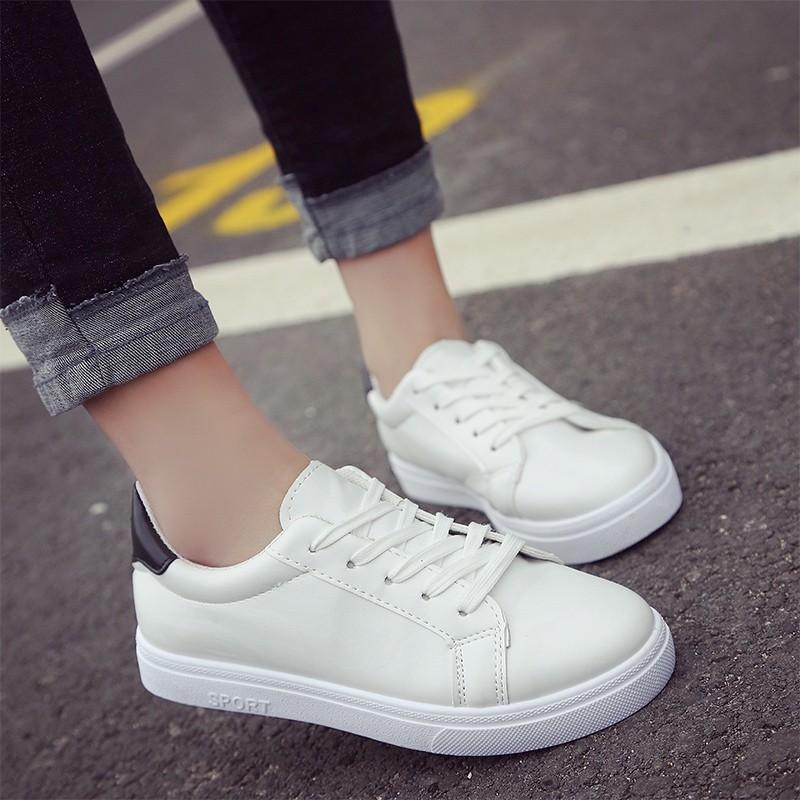 2017  小白鞋系帶女鞋白鞋百搭帆布鞋平底板鞋學生布鞋