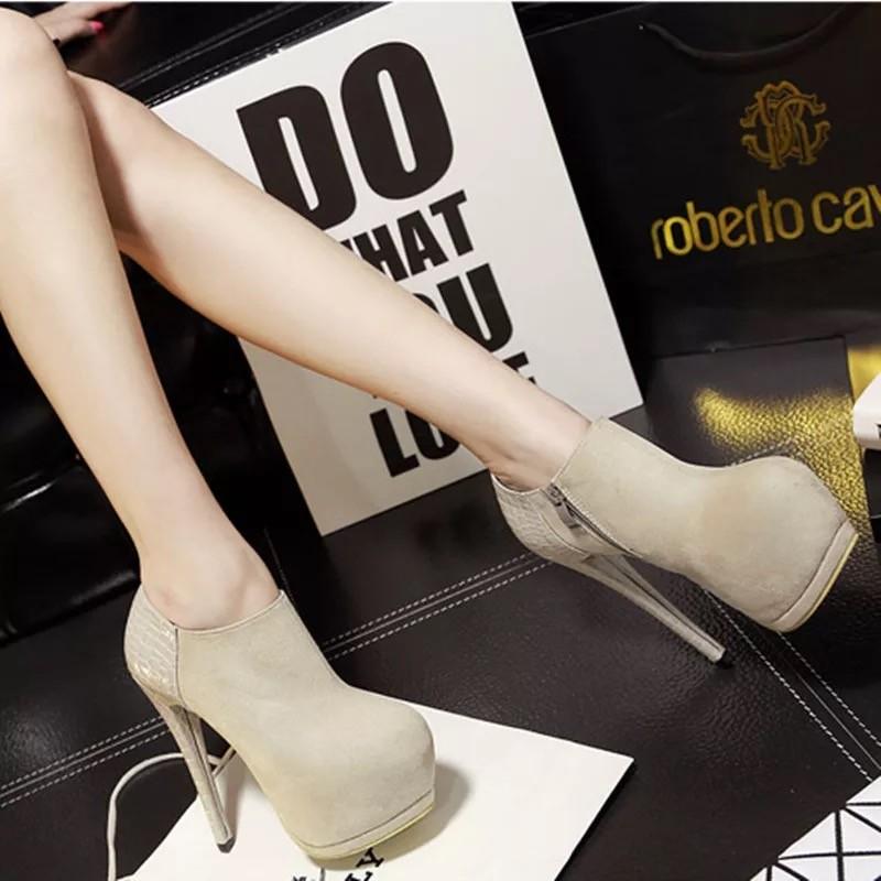 款性感細跟絨面馬丁靴超高跟鞋夜店防水台女短靴圓頭裸靴