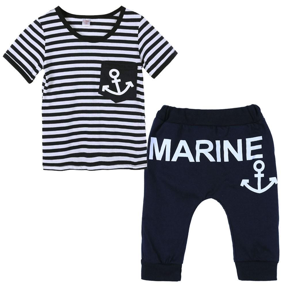 海軍條紋船錨套裝男童寶寶兩件套