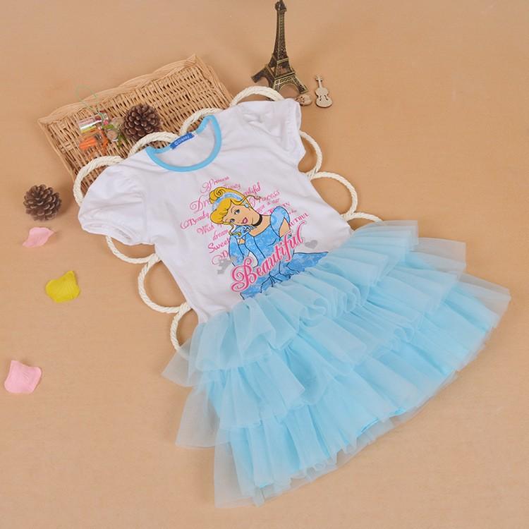女童連衣裙白雪公主連衣裙夏天2 6 歲天藍