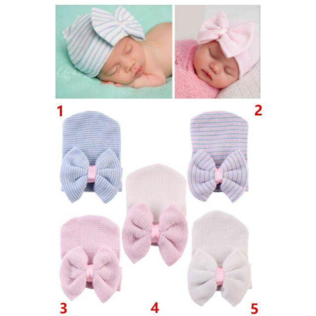 ~ 款中性男女寶寶兒童新生兒胎帽蝴蝶結條紋針織帽~