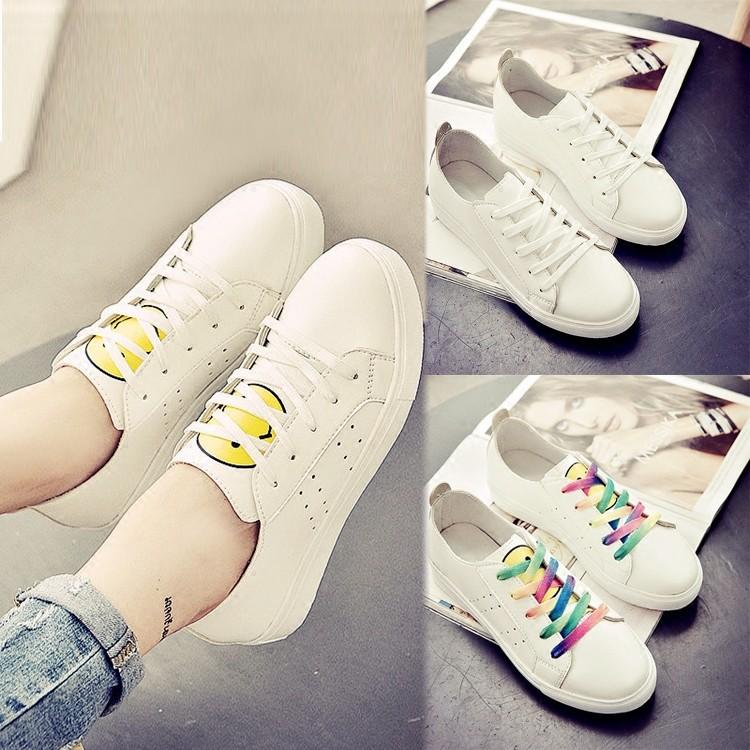 小白鞋女 春夏女鞋厚底板鞋 鞋休閒鞋學生透氣鏤空笑臉單鞋男鞋女鞋休閒鞋 鞋跑步鞋網球鞋豆豆
