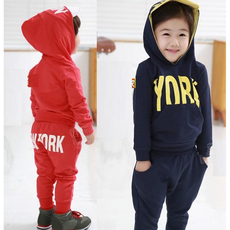 E1116 藍110 1 韓板兒童字母長袖帽T 男童女童寶寶加絨款衛衣哈倫褲長褲兩件套裝M